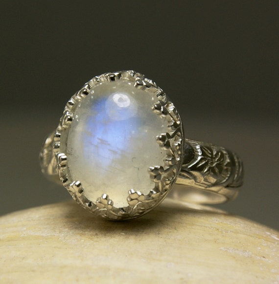Rainbow Moonstone Ring, Sterling Silver, Natural Blue Stone, Friendship Jewelry, made to order