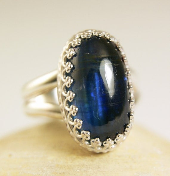 Sterling Silver Kyanite Ring, Natural Blue Stone, Healing Crystal, Handmade Jewelry