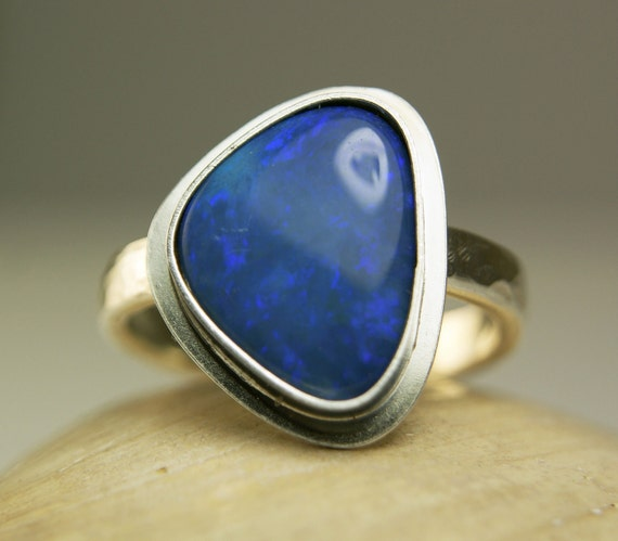 Sterling Silver Opal Ring, Natural Blue Stone, Lightning Ridge Opal, Strong Fire-made to order in your size