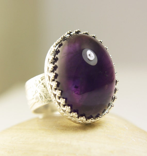 Reserved for Rosamaria Sterling Silver Amethyst Ring, Big Purple Stone, Nautral Gemstone, Handmade-made to order in your size