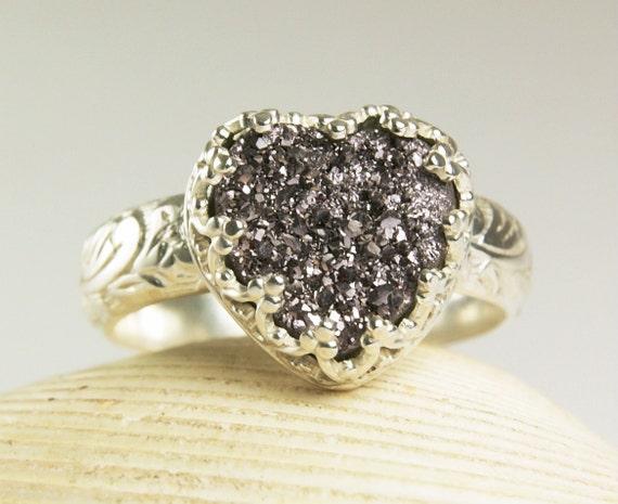 Druzy Ring, Purple Crystal Heart Stone, Handmade Custom Jewelry-size 5 1/2
