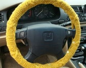 Knit Steering Wheel Cover (Golden Yellow) with safety rubber backing, machine washable