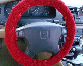 SALE True Red Knit Steering Wheel Cover with safety rubber backing