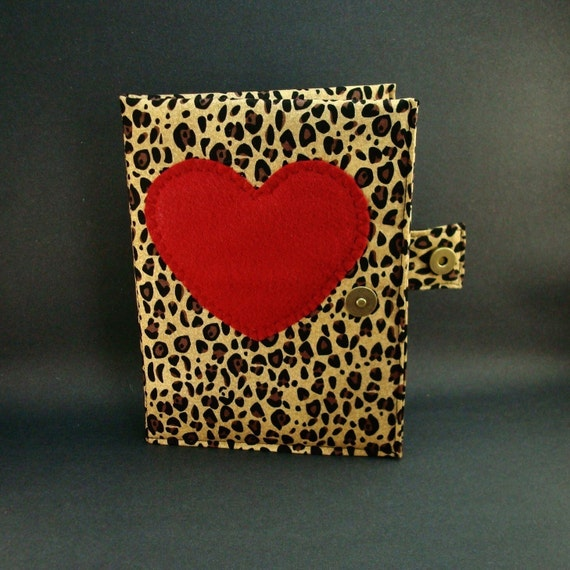 Embellished Hardcover Kindle or Nook Cover  (Leopard Print with Heart Embellishment)