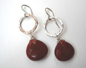 Clearance Sale - Carnelian Briolette Earrings - Sterling Silver Teardrop Dangle Circle Earrings Oxblood Red
