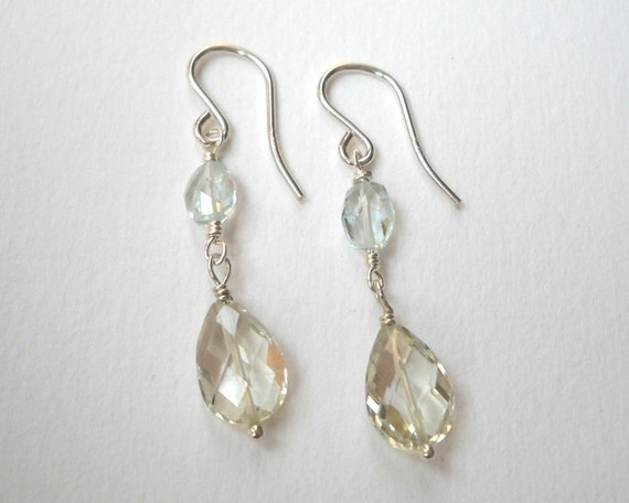 Aquamarine and Green Amethyst Earrings - Sterling Silver Beaded Briolette Dangle Earrings Beadwork Earrings