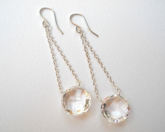 Rock Crystal Earrings - Dangle Earrings Briolette Earrings Beaded Earrings Bridal Earrings Wedding Jewelry