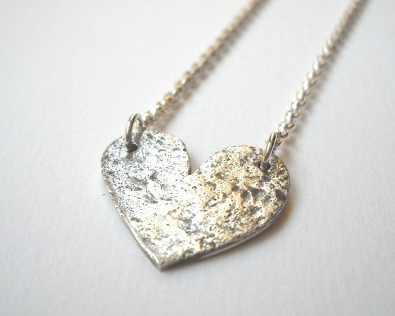 Concrete Heart Necklace - Sterling Silver Heart Textured Pendant Necklace Oxidized
