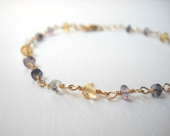 Amethyst Iolite Aquamarine and Citrine Bracelet - Gold Filled Beadwork Rosary Bracelet Easter colors
