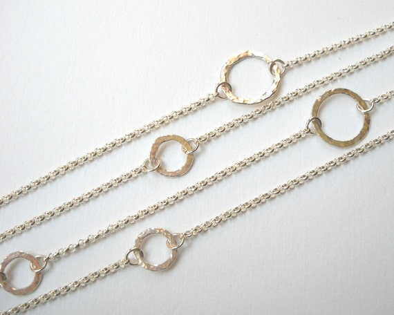Circle Station Necklace - Sterling SIlver Long Necklace Hammered Circle Link Necklace