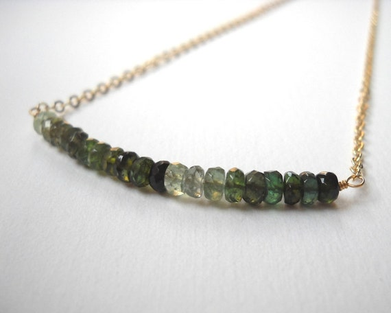 Green Tourmaline Necklace - Gold Filled Ombre Beaded Bar Necklace Chrome Tourmaline Forest Green