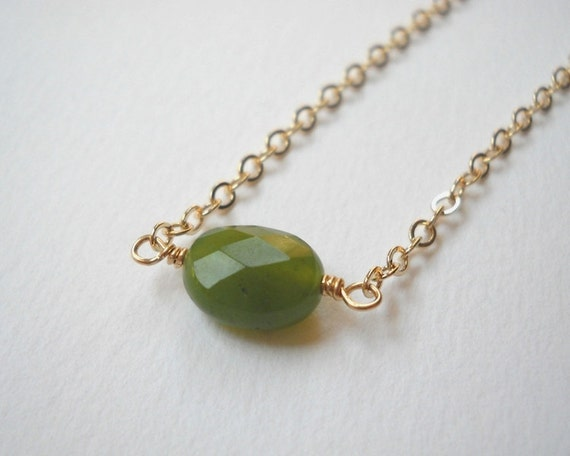Canadian Jade Necklace - Gold Filled Beaded Oval Pendant Necklace Beadwork Necklace