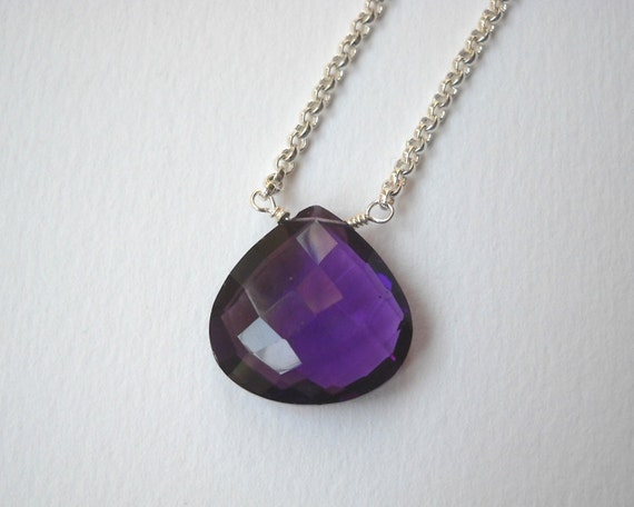 Clearance Sale - Amethyst Briolette Necklace - Sterling Silver Beaded Teardrop Pendant Necklace Faceted Amethyst