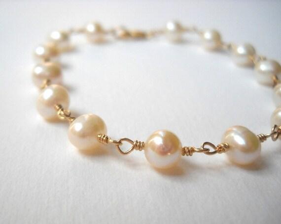 Pearl Bracelet - Gold Filled Beaded Rosary Bracelet White Cultured Pearls Beadwork Bracelet