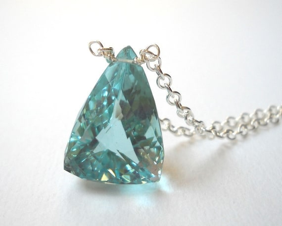 Clearance Sale - Blue Quartz Necklace - Sterling Silver Triangle Briolette Pendant Necklace