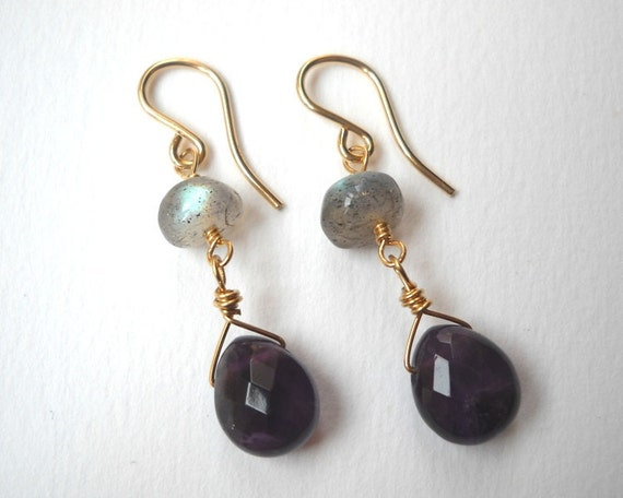 Clearance Sale - Labradorite and Amethyst Earrings - Gold Filled Beaded Briolette Dangle Earrings