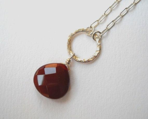 Clearance Sale - Carnelian Briolette Necklace - Sterling Silver Circle Teardrop Pendant Necklace Oxblood Red