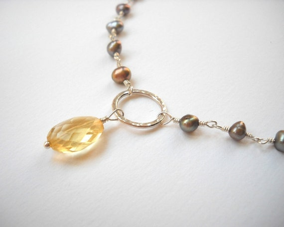 Clearance Sale - Citrine and Pearl Necklace - Sterling Silver Citrine Pendant Beaded Rosary Necklace
