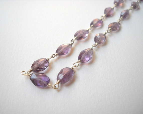 Clearance Sale - Amethyst Necklace - Sterling Silver Beaded Rosary Necklace Faceted Stones