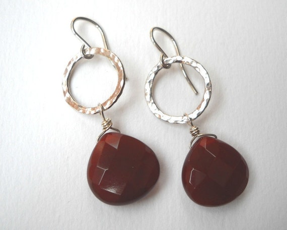 Clearance Sale - Carnelian Briolette Earrings - Sterling Silver Teardrop Dangle Circle Earrings Oxblood Red