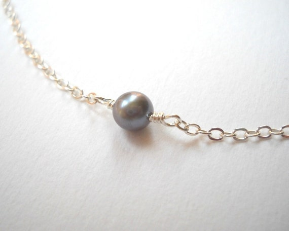 Single Pearl Necklace - Sterling Silver Gray Pearl Beaded Necklace Bridesmaid Gift Beadwork Necklace