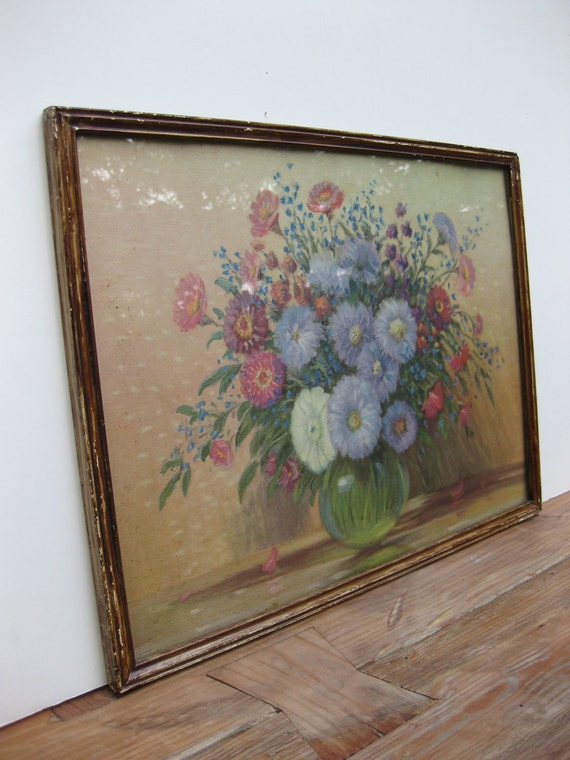 Vintage Antique Floral Lithograph/ Gustave Weigand/ shabby chic art