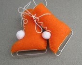 READY TO SHIP Ice Skates Vintage Style Eco-Friendly Christmas Ornament Recycled Orange