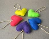Small Felt Heart Ornaments 80s Neon Colors Recycled Felt set of 5