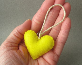 Sunshine Yellow Felt Heart Ornament Eco Friendly recycled plastic bottles