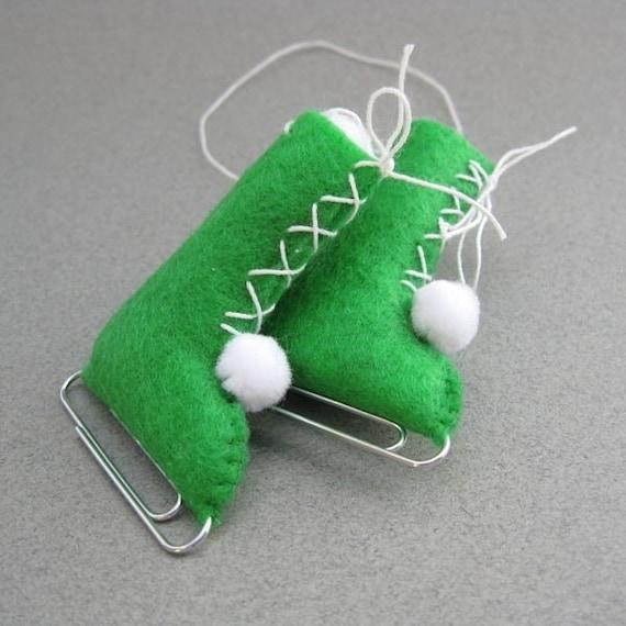 Ice Skates Vintage Style Eco-Friendly handmade Ornament Christmas Recycled Felt Apple Green