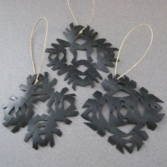 Snowflake Christmas Ornaments Eco Friendly OOAK Bicycle Inner Tubes set of 3 Up-Cycled