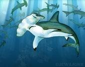 "Hammerhead Sharks Art Print - Blue Gray White Aquatic Illustration - 11x14"" Print - Watercolor Inspired"
