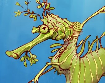 Leafy Sea Dragon - Blue Green Purple Aquatic Art - Digital Mixed Media Signed Print