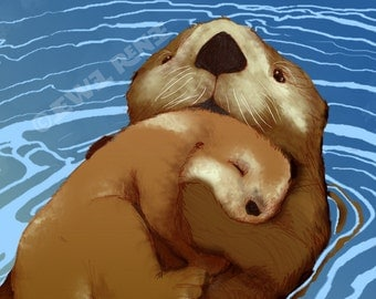 Mom and Baby Otter - Otter Family Illustration - Teal and Brown Aquatic Art - Digital Mixed Media Signed Print