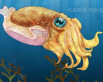 Baby Cuttlefish Art - Blue Gold Ivory Green - Digital Mixed Media Signed Print