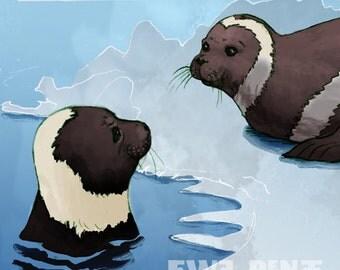 Ribbon Seal Illustration -  Blue, Gray, Cream Aquatic Art - Digital Mixed Media Fine Art Print