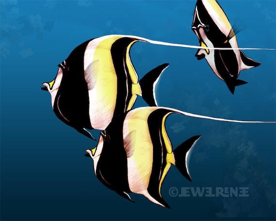 Moorish idol fish illustration blue yellow black by jewelrenee for Moorish idol fish
