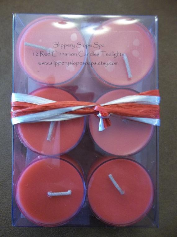 Red Cinnamon Candies - 12 pk. Tea Lights