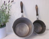 Club Aluminum Hammercraft Pot & Pan Set. Farmhouse Collection. Heavy Duty Rustic Black Wood Handles with Hangers Country Kitchen decor