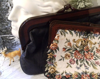 vintage Clutch Purses, Tapestry, etc. Bakelite or Lucite, mid-century glam,  style, and fashion. La Regale Ltd., Hong Kong.