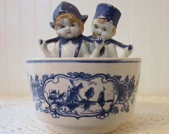 Vintage Dutch Couple and Bowl. Boy & Girl Statues, Distressed Rustic Figurines, Japan. Windmills and Boats Bowl, Holland. Delft Blue White