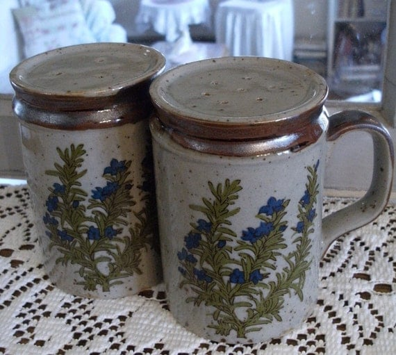 RESERVED large SALT and PEPPER shakers with handles, wildflower design in blue and green