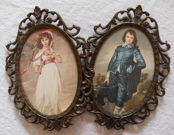 vintage PINKIE and BLUE BOY in detailed oval brass frames ... made in ITALY . lovely holiday or Christmas gift