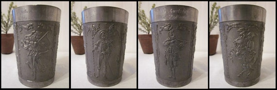 antique Pewter Cup, Inscription, German Hunters Tumbler, 4 relief scenes, pencil holder, organizer, engraved vintage charm galore