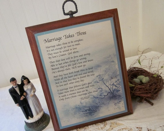 Marriage Takes Three prayer poem on vintage wood plaque, perfect bridal shower wedding gift for a vintage loving bride