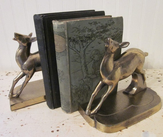 vintage deer bookends brass art deco era objet by stellabystar. Black Bedroom Furniture Sets. Home Design Ideas