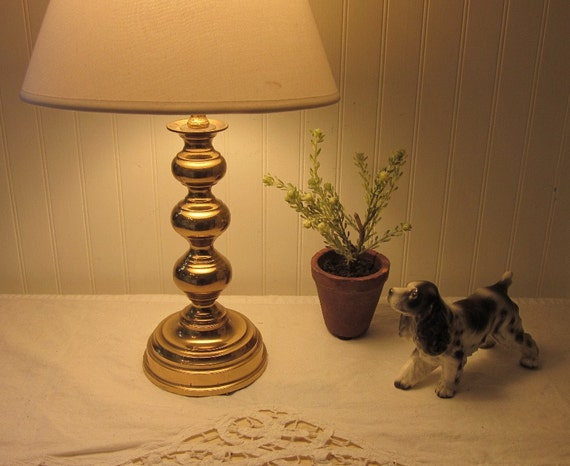 Country End Table Lamps: Vintage Brass Lamp Table Accent Lamp Classic Design Shabby