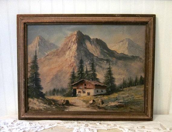 Vintage Swiss Alps Amp Chalet Mountain Landscape Framed Canvas