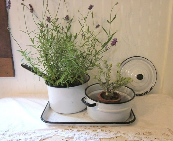 Farmhouse Collection. Enamelware Double Boiler Pot, Lid, Tray. White & Black. Distressed, rustic pans, country kitchen decor