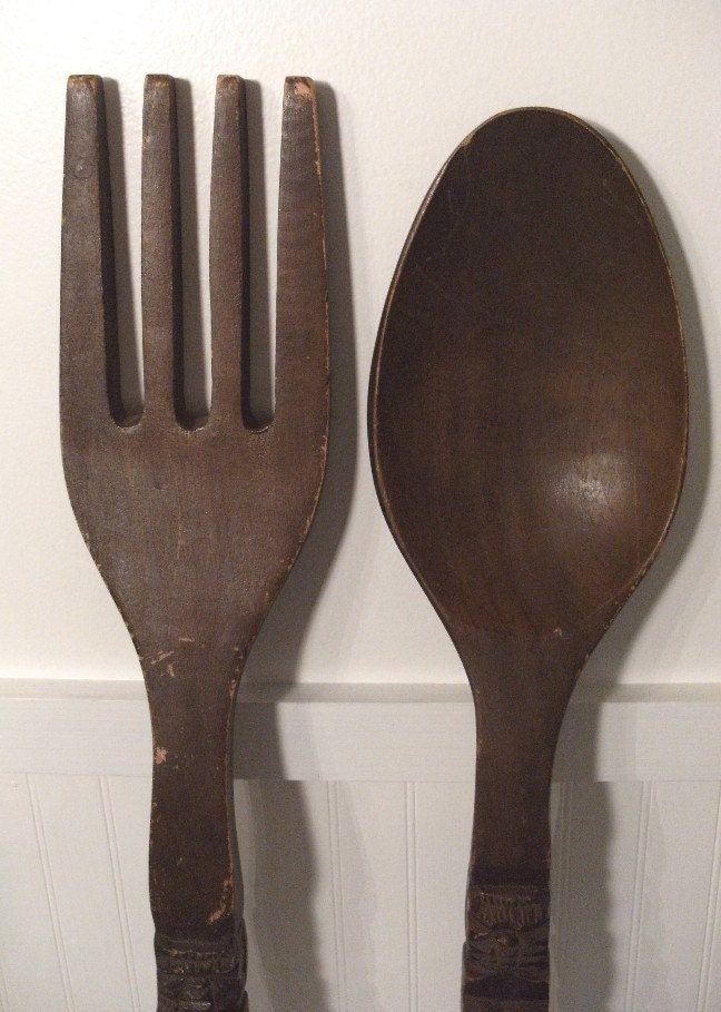 Wall Decor Wooden Fork And Spoon : Liz lemon office decor giant vintage wooden fork and spoon